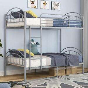 Twin Over Twin Bunk Bed, Convertible Into 2 Individual Metal Twin Bed Frame Grey