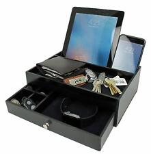 Valet Drawer Charging Station Black Nightstand Organizer with Valet Tray