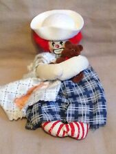 "Handmade Little Baby sailor Clown Rag doll stuffed plush toy  6"" hand painted"