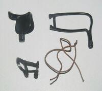 Playmobil Lot Accessoires Cheval Equitation Cowboy Selle Corde + 2 Harnais Noir