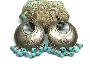 Carolyn Pollack Relios Stamped Sterling Silver Concho Dangle Turquoise Earrings