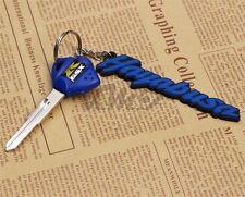 3D Soft Rubber Motorcycle Keychain Blade Uncut Key+Ring For Suzuki Hayabusa Blue