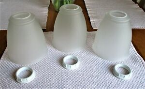 3- FROSTED BATHROOM VANITY LIGHT GLOBES. PREOWNED.