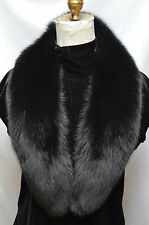 Real Black Fox Fur Collar Detachable New  made in the usa