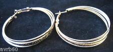 dangly earrings in twist hoop design gold colour metal  5cm  new