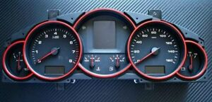 Porsche Cayenne Turbo S GTS 9PA 955 Tachoringe Tacho Alu Blende Ringe rot
