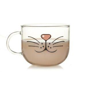 Cat Face Mugs Coffee Tea Milk Breakfast Mug Lovely Glass Cup Creative Drinkware