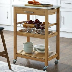 Table Kitchen Cart with Stainless Steel Top Smart Modern home NEW