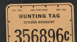 New York State Hunting Tag Citizen Resident 1963 - 1964