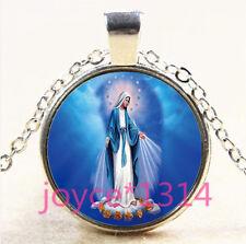 Vintage Virgin Mary Cabochon Tibetan silver Glass Chain Pendant Necklace #3860