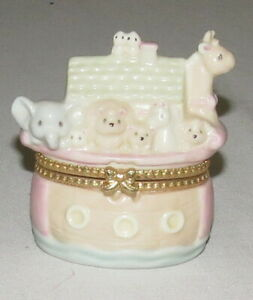Enesco 1997 Noah's Ark Ceramic Trinket Box Pastel Colours