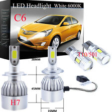 For Seat Ibiza 2002-2008 Side/Low/High Beam 501 H7 Xenon LED Headlight Bulbs 12V