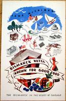1930s Chicago, IL Advertising Postcard: Bismarck Hotel - Illinois