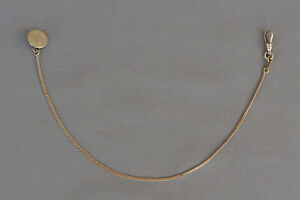 ANTIQUE FINE GOLD METAL WATCH CHAIN WITH FOB