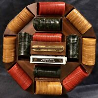 "Vtg Drueke #707 Wood Carousel Poker Chip Holder & 300 Bakelite 1.5"" & 1.1"" Chips"