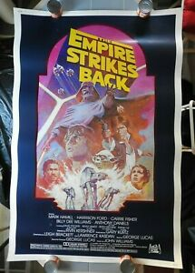 """1983 """"THE EMPIRE STRIKES BACK"""" 40"""" x 60"""" Poster Harrison Ford Carrie Fisher NICE"""