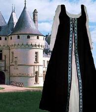 Medieval Renaissance Overdress Sca Garb Costume BlkSilver Irish Styl Sz Flex Lxl