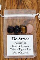 De-stress Crystal Gift Set Amethyst Golden Tiger's Eye Goldstone Rose Quartz