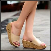 Summer Womens Casual Creeper Wedge Mid Heel Sandals Open Toe Slipper Shoes size
