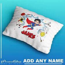 Personalised Children Superhero Pillowcase Printed Gift Custom Print New