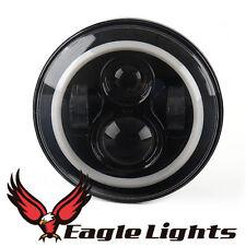 "Eagle Lights Black 7"" Headlight Kit w/White Halo Ring - Harley Davidson"