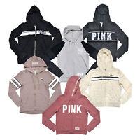 Victoria's Secret Pink Hoodie Full Zip Up Sweatshirt Graphic Logo Vs New Pockets