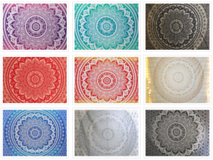Lot of 5 Pc Wall Hanging Mandala Design Ombre Beach Blanket Table Cloth Tapestry