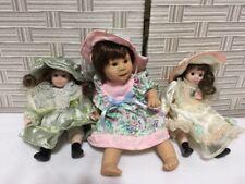 "Porcelain Girl Dolls 3 Porcelain & Vinyl Moveable Parts Detailed Outfits 6-9"""