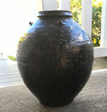 "Antique 14"" Globular Chinese Brownware Stoneware Pottery Storage Jar Vase OFFER"
