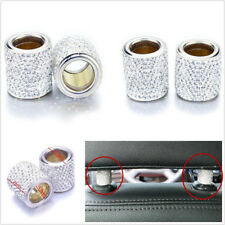 4 X Silver Diamond Bling Crystal Car Headrest Collar Interior Decor Cylindrical