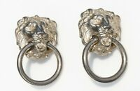 CLIP on EARRINGS, lion head with rings, silver tone metal