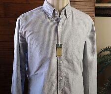J Crew Oxford Shirt Mens Large Slim Fit Gray/White Striped