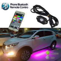 4Pcs LED Neon Strip Under Car Body Glow Light Tube Undercar Underbody Underglow
