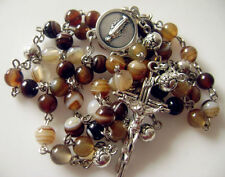 Coffee Agate Tibet Silver Rose Beads Rosary Necklace Cross CRUCIFIX CATHOLIC