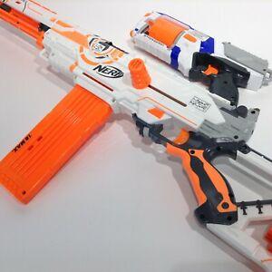 NERF Long Strike CS-6 N-Strike Rifle Sniper Blaster White Mag Clips + Strongarm