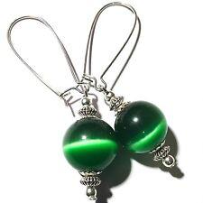 Very Long Green Glass Bead Earrings Drop Dangle Silver Style Kidney Hook UK MADE