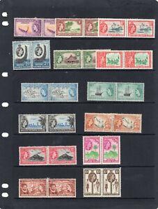 QEII British Solomon Islands 1956 P / Set TO 10/- PAIRS LMM SG;82-95 cat £180 +