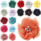 5/25/50PCS Satin Ribbon Rose Flower With pearl Appliques Sew Wedding Craft 60mm