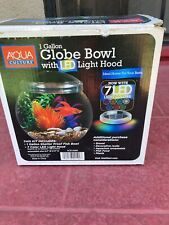 New listing 1 Gallon Globe Fish Bowl With Led Light Hood 7 different color Led lights .