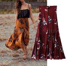 AU Women Summer High Split Boho Floral Beach Print A Line Dress Long Maxi Skirts