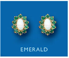 Emerald Earrings opal Earrings Emerald and Opal Studs Cluster Yellow Gold Studs