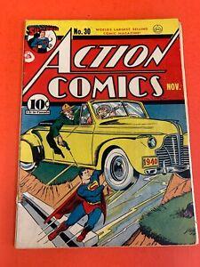 ACTION  COMICS # 30  (1940 DC ) SUPERMAN VINTAGE GOLDEN AGE COMIC BOOK