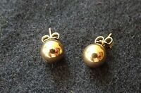 New 14K Gold Ball Earring Studs - 7MM