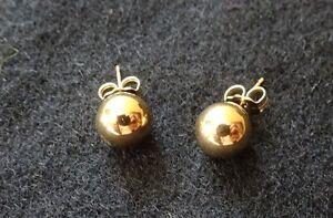 New 14K Gold Ball Earring Studs - 7MM