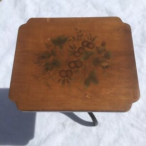 """L. Hitchcock Marked Table Plant Stand Pedestal Painted Stenciled 21"""" Tall"""