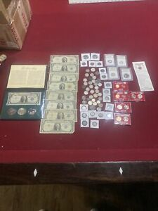 HUGE COIN LOT SILVER COINS MORGANS & Peace Dollars Type Coins Currency & More