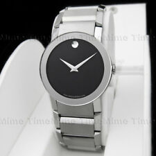 Men's Movado SAPPHIRE Black Dial Mirror Stainless Steel Swiss Watch 0605063