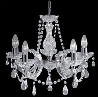 Searchlight Marie Therese 5 Lights Chrome Crystal Ceiling Fitting Chandelier New