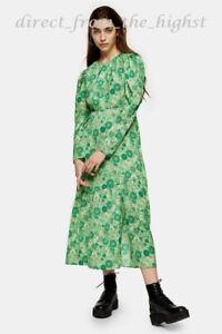 TOPSHOP Green Floral Print Long Sleeve Midi Dress Sizes UK 6_8_10_12_14_16