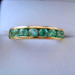 1.00ct Colombian Emerald Gold Half Eternity Band Ring
